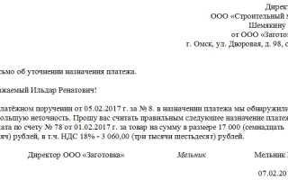 Письмо о назначении платежа